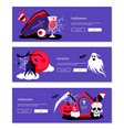 treat or - cartoon banners with three purple vector image