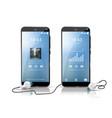 two smartphones showing audio player screensaver vector image
