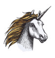 unicorn horse with horn and golden mane sketch vector image vector image