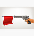 vintage gun with red flag vector image vector image