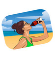 woman drink water on the beach vector image vector image