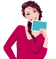 woman holds photo frame vector image