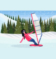 woman windboarder windsurfing on snow mountains vector image