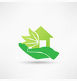 hand and green house vector image