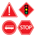 Road sign of bus stop Hazard warning red traffic vector image