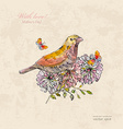 vintage greeting card with cute bird and vector image