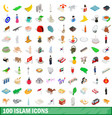 100 islam icons set isometric 3d style vector image