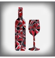 a bottle of wine with a glass abstract figure vector image vector image