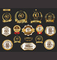 anniversary golden laurel wreath and badges 60 vector image vector image