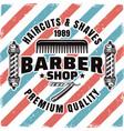 barbershop and hairdressing service emblem vector image vector image