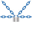 blue chains locked by padlock in silver design vector image vector image