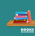 bookshelf with pile of books different color vector image