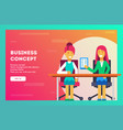 business concept worker shows her boss her work vector image vector image