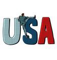 businessman man climbs across border usa vector image