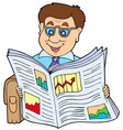 businessman reading newspaper vector image