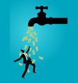 businessman standing under water tap flows with vector image vector image