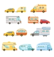 Camper Vans With Trailers Collection vector image vector image