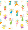 cartoon characters fairies seamless pattern vector image vector image
