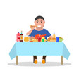 cartoon fat man at the table vector image