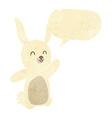 cartoon happy rabbit with speech bubble vector image vector image