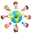 children posing on earth vector image vector image