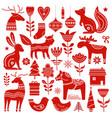 christmas hand drawn elements in scandinavian vector image vector image