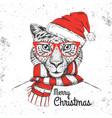 christmas hipster fashion animal cheetah vector image vector image