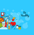 colored diabetes icons on web banner for vector image vector image