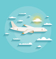 concept of detailed airplane flying through clouds vector image vector image