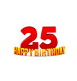 congratulations on 25th anniversary happy vector image