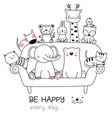 cute baby animal with sofa cartoon hand drawn vector image vector image