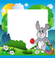 easter frame with bunny and eggs vector image vector image