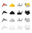 electric drill construction helmet spatula for vector image vector image