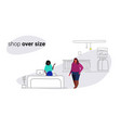 fat overweight woman standing at cash desk counter vector image vector image