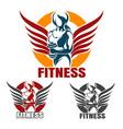 Fitness club emblem set with training athletic