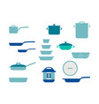 frying pan cookware set collection kitchenware vector image vector image