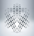 Futuristic structure with connected lines and dots vector image