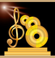 gold musical note with cd concept music vector image vector image