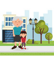 grandmother with granddaughter characters vector image vector image