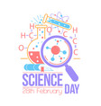 greeting card national science day vector image vector image