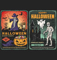 halloween ghost mummy and wizard with pumpkin vector image vector image