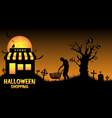 halloween store open in graveyard vector image