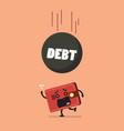 heavy debt falling to frightened wallet vector image vector image