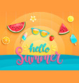 hello summer flyer with summer symbols vector image