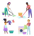 isolated adult people cleaning up indoors vector image vector image