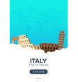 italy time to travel travel poster flat vector image vector image