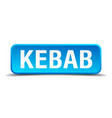 kebab blue 3d realistic square isolated button vector image vector image