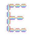 Letter E made in rainbow colors vector image