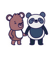little panda and teddy bear cartoon character on vector image