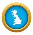 map great britain icon blue isolated vector image vector image